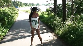 Sassy and lean bronze skin teen flashes her pussy in the park--_short_preview.mp4