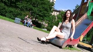 Fabulous young babe in sexy dress flashes her shaved pussy in the park--_short_preview.mp4