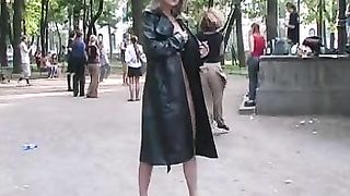 Gorgeous long legged blonde teen in the park shows her breasts--_short_preview.mp4