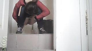 Brunette white chick in the public restroom pissing on hidden cam--_short_preview.mp4