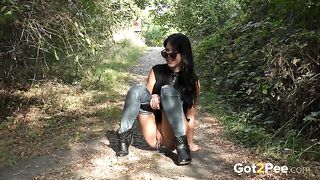 Brunette country girl pulls down tight jeans as it is time to pee--_short_preview.mp4