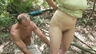 This lewd granny is sucking a muscular man's dick in the woods--_short_preview.mp4