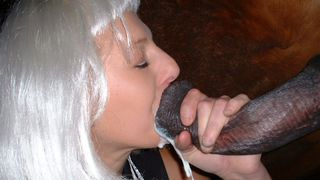 Platinum blonde mature sucks a horse and gets her mouth full of semen--_short_preview.mp4