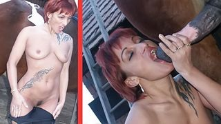 Tattooed chick gets beastiality experience in a horse fuck mature action--_short_preview.mp4
