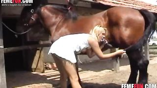 Horse sticking the rod to the blonde - Beastiality XXX--_short_preview.mp4