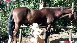 Pretty teenager testing cock horse - Beastiality XXX--_short_preview.mp4