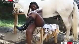 Experienced ebony slut gets pleasure of having a horse's cock in her black cunt--_short_preview.mp4