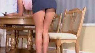 Salacious amateur blondie pets her wet shaved pussy in dining room--_short_preview.mp4