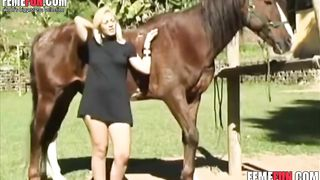 Steaming hot blonde starved for a horse's dick and gets fucked by a horse really brutally--_short_preview.mp4