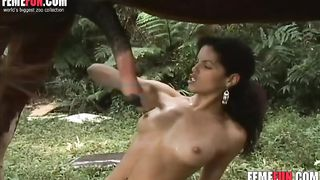 Busty ebony slut and a white woman have sex with a horse and suck it in turns--_short_preview.mp4