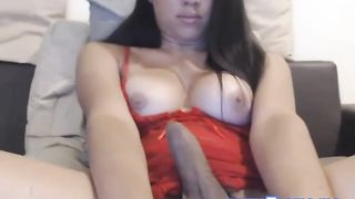 Busty Ladyboy Stroking Cock in Nice Webcam View--_short_preview.mp4