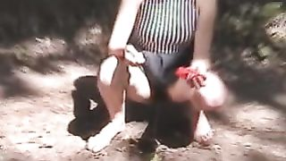 Redhead adorable white chick flashes her hairy pussy and pisses under the tree--_short_preview.mp4