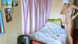 Nice natural svelte lady with perfect titties was caught nude in the bedroom--_short_preview.mp4