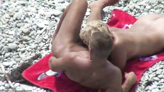 Amateur blonde MILF gives head to her boy on nude beach - spy cam--_short_preview.mp4