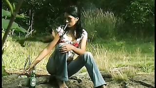 Marvelous skinny Russian girl poses topless in the forest and pisses--_short_preview.mp4