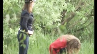 Two amateur white young chicks in the forest squat and piss--_short_preview.mp4