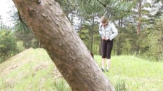Gorgeous Russian lovely teen in the forest pisses and flashes her pussy--_short_preview.mp4