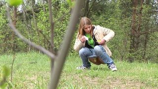 Blonde fine amateur teen chick in the forest squats and pisses--_short_preview.mp4