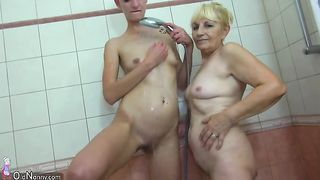 Tall and freaky brunette girl with an old blonde lady--_short_preview.mp4