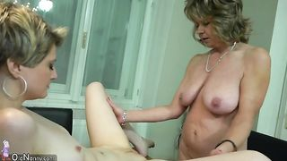 Hot blonde is gracefully crawling across the table toward her lesbian friend--_short_preview.mp4