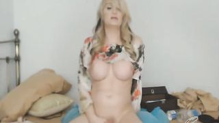 Pretty Lovely Shemale Massturbates her Cock Hard--_short_preview.mp4