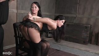 Gagged brunette in stockings has to be hogtied right away by domme--_short_preview.mp4