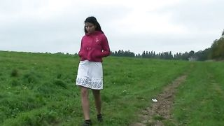 Brunette Russian girl outdoors squats and pisses on the grass--_short_preview.mp4