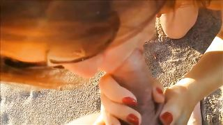 Lusty wife of my buddy sucked and kinda wanked his limp cock on the beach--_short_preview.mp4
