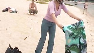Horny brunette wife of mine gets naked on the local nude beach--_short_preview.mp4