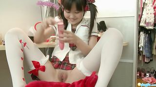 Lovely and petite Asian chick in white stockings masturbates with a dildo--_short_preview.mp4