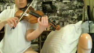 Asian beauty plays on violin and then masturbates with big dildo--_short_preview.mp4