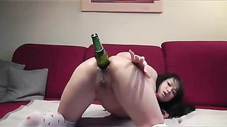 Using a huge glass bottle lusty long haired Asian cam gal masturbated slit--_short_preview.mp4