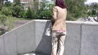 Redhead bitch Tanya pees her pants outdoors in solo video--_short_preview.mp4