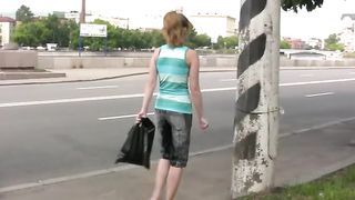 Cute blonde Russian lady is all pissed wet on the street--_short_preview.mp4