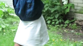 Mesmerizing young hottie in the park loosens her buttons and flashes her breasts--_short_preview.mp4