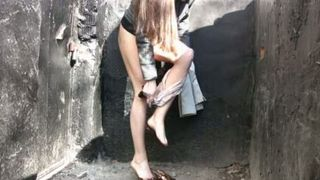 Amateur young Russian girl in jeans pisses in the park--_short_preview.mp4