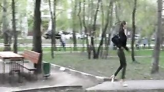 Sweet hottie from Russia pees near the picnic table in the park--_short_preview.mp4