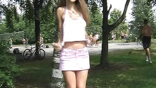 Mesmerizing and shameless blonde teen shows her goodies in the park--_short_preview.mp4