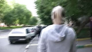 Blonde Russian strumpet pees in her pants and walks in public place--_short_preview.mp4